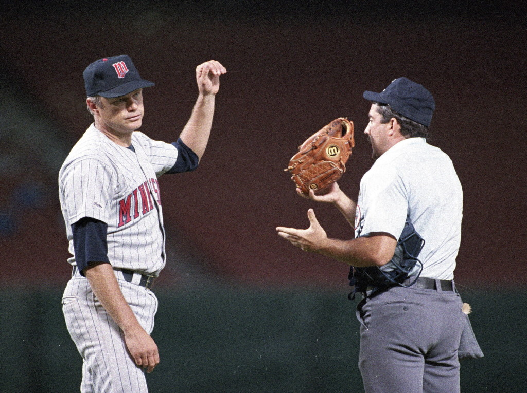 Minnesota Twins pitcher Joe Niekro was caught using a piece of emory board to scuff baseballs during a game in 1987 after an unsuccessful attempt to distract umpire Tim Tschida and dispose of the evidence.