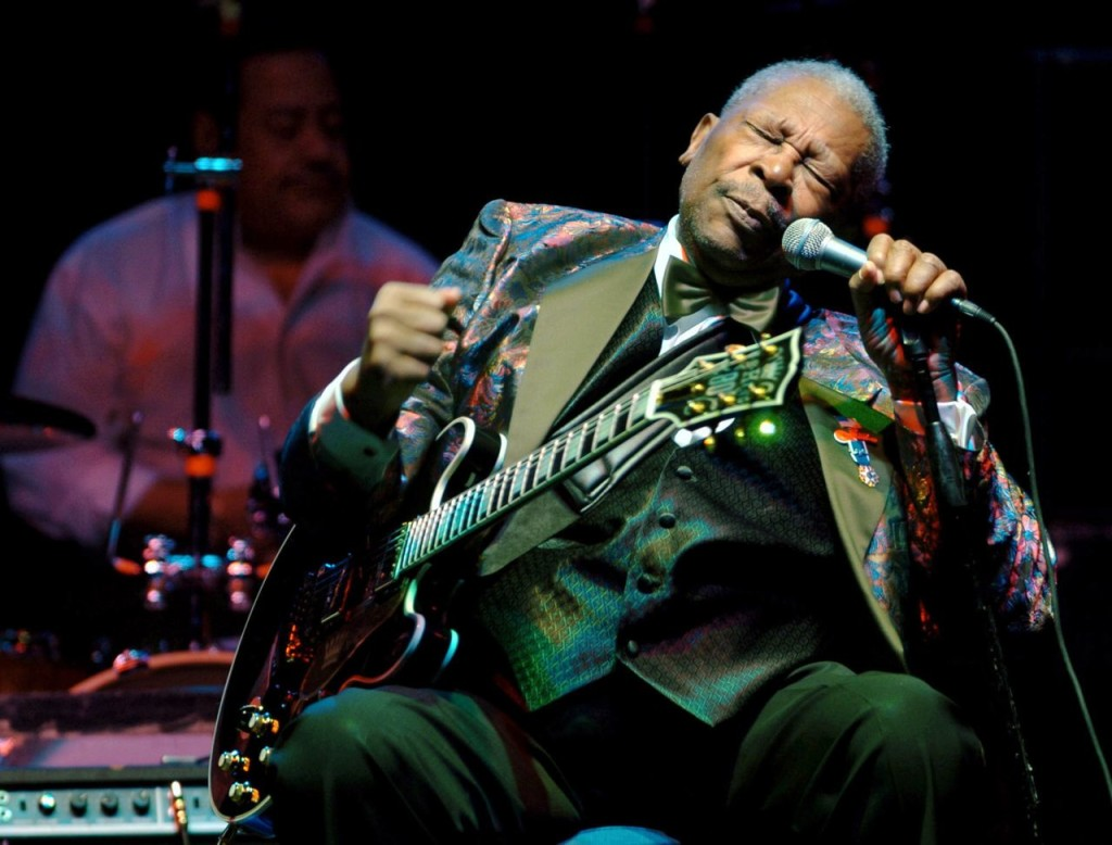 B.B. King performs at the Wicomico Youth and Civic Center in Salisbury, Md., in 2007. He died Thursday in his sleep at his Las Vegas home at age 89, his lawyer said. Matthew S. Gunby/The Daily Times via AP