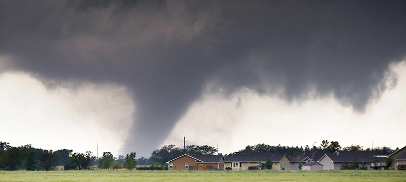 A tornado passes near Halstead, Kansas on Wednesday, May 6.