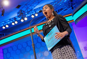 """MAY 28: Ankita Vadiala, 13, of Manassas, Virginia, reacts as she is given the word """"billable"""" to spell during the semifinals of the Scripps National Spelling Bee in Oxon Hill, Maryland. Although Vadiala spelled the word correctly, she was eliminated in a later round and Vanya Shivashankar, 13, of Olathe, Kansas, and Gokul Venkatachalam, 14, of St. Louis, were declared this year's co-champions."""