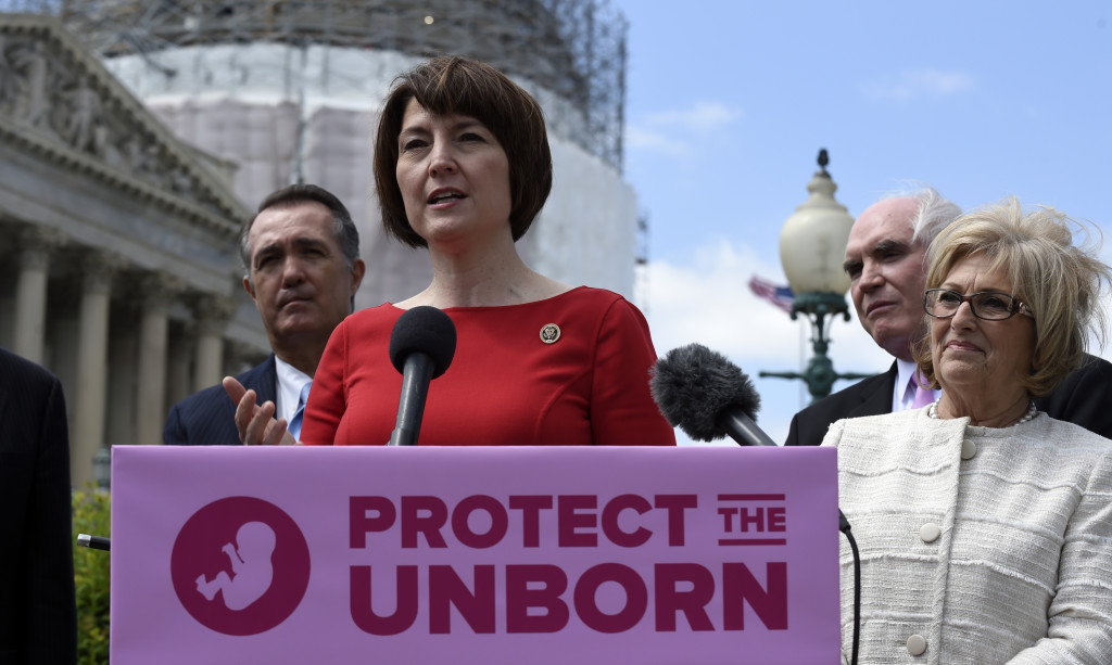 Rep. Cathy McMorris Rodgers, R., Wash., speaks during a news conference Wednesday on the Pain-Capable Unborn Child Protection Act. Republicans finally won House approval for the bill after dropping rape provisions.  The Associated Press