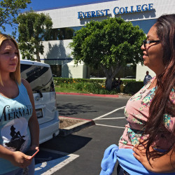 Adriana Garay, 29, right, consults her niece, Haley Sandoval, 17, a student at the now-closed Everest College, in Industry, Calif. The Associated PRess