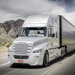 """The Freightliner """"Inspiration"""" truck is the first licensed autonomous commercial truck to drive on U.S. highways.  Daimler Trucks North America photo"""
