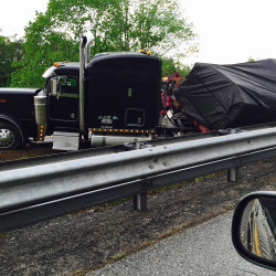 Police say this tractor trailer went off Interstate 295 into the median in Falmouth on Thursday afternoon, starting a major traffic jam in both directions. Tom Bell/Staff Writer