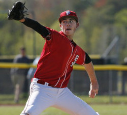 Henry Curran of South Portland, who pitched a one-hitter with 19 strikeouts two weeks ago against Cheverus, on Thursday had a one-hitter with 14 strikeouts in a 4-0 victory at home against Portland. Joel Page/Staff Photographer