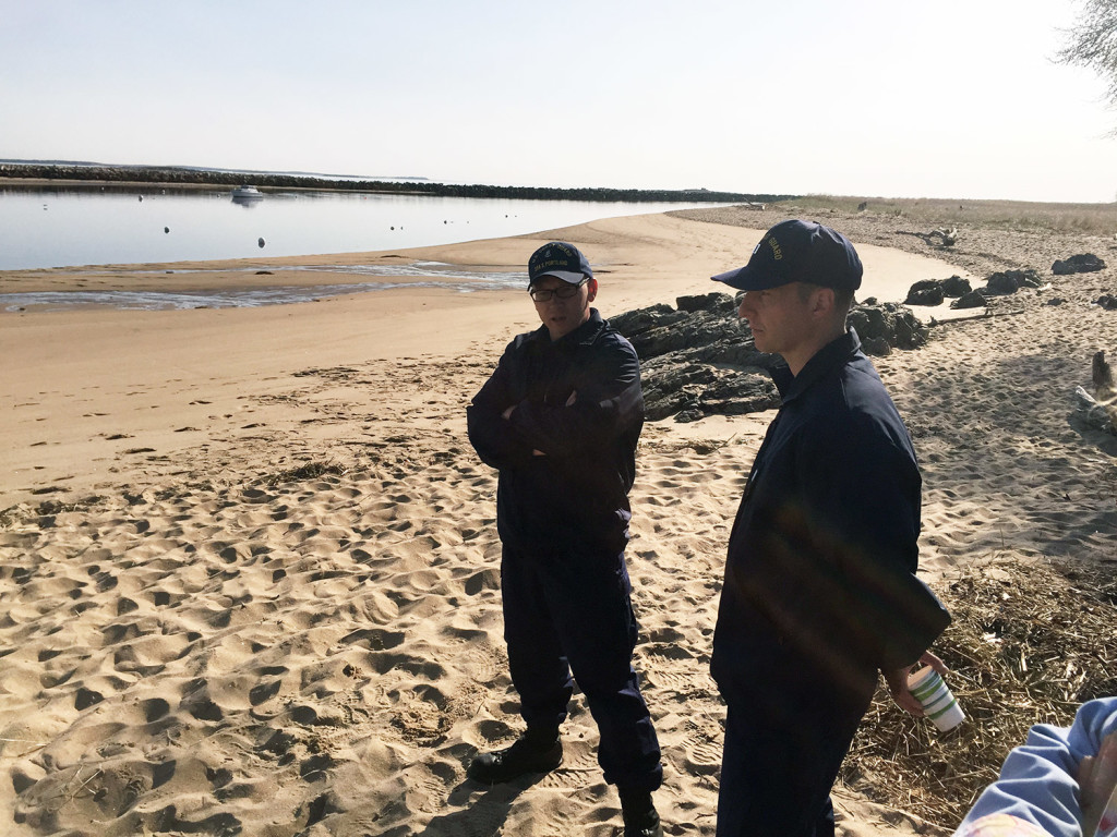 Lt.  David Bourbeau and Chief Hans Schultz view the beach in Biddeford where a man came to shore and reported that two other kayakers were in distress around midnight. Gordon Chibroski/Staff Photographer