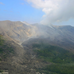 A column of smoke raises from Mount Shindake on Kuchinoerabu island in southern Japan.