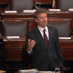 Sen. Rand Paul, R-Ky., and a Republican presidential contender, speaks on the floor of the U.S. Senate during a long speech opposing renewal of the Patriot Act.