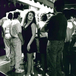 People stand in line just before midnight on a Saturday evening waiting to enter Cocktail's, a popular nightspot in Old Orchard Beach, on July 17, 1993.