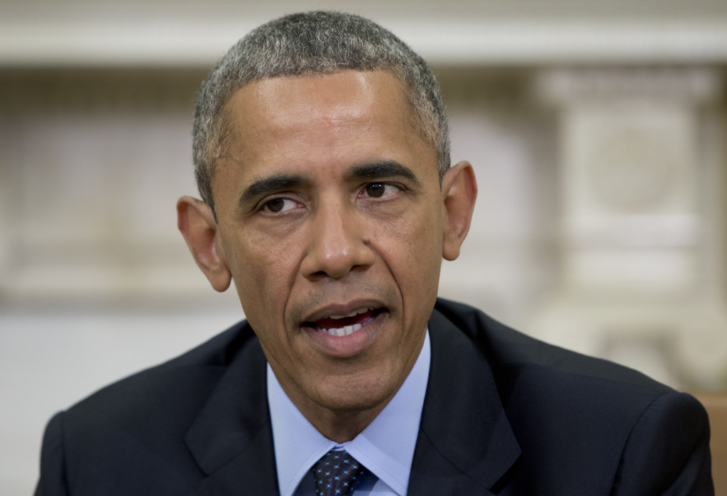 """President Obama speaks to media as he meets with Attorney General Loretta Lynch in the Oval Office on Friday. The president said a """"handful of senators"""" are the only thing standing in the way of an extension of key Patriot Act provisions before they expire at midnight Sunday."""