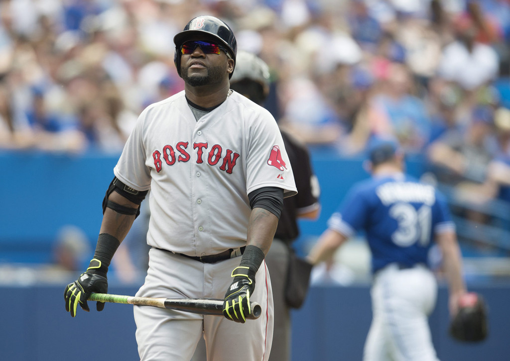 Red Sox designated hitter David Ortiz reacts after popping out to third base in the seventh inning against the Toronto Blue Jays in Toronto on Saturday. The Associated Press