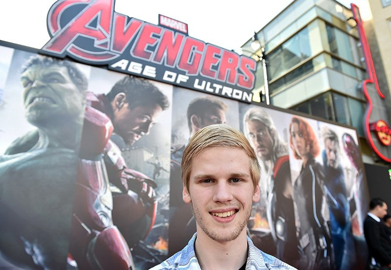 "Blogger Reid Jones at the premiere for ""Avengers: Age of Ultron,"" in Los Angeles. The Associated Press"