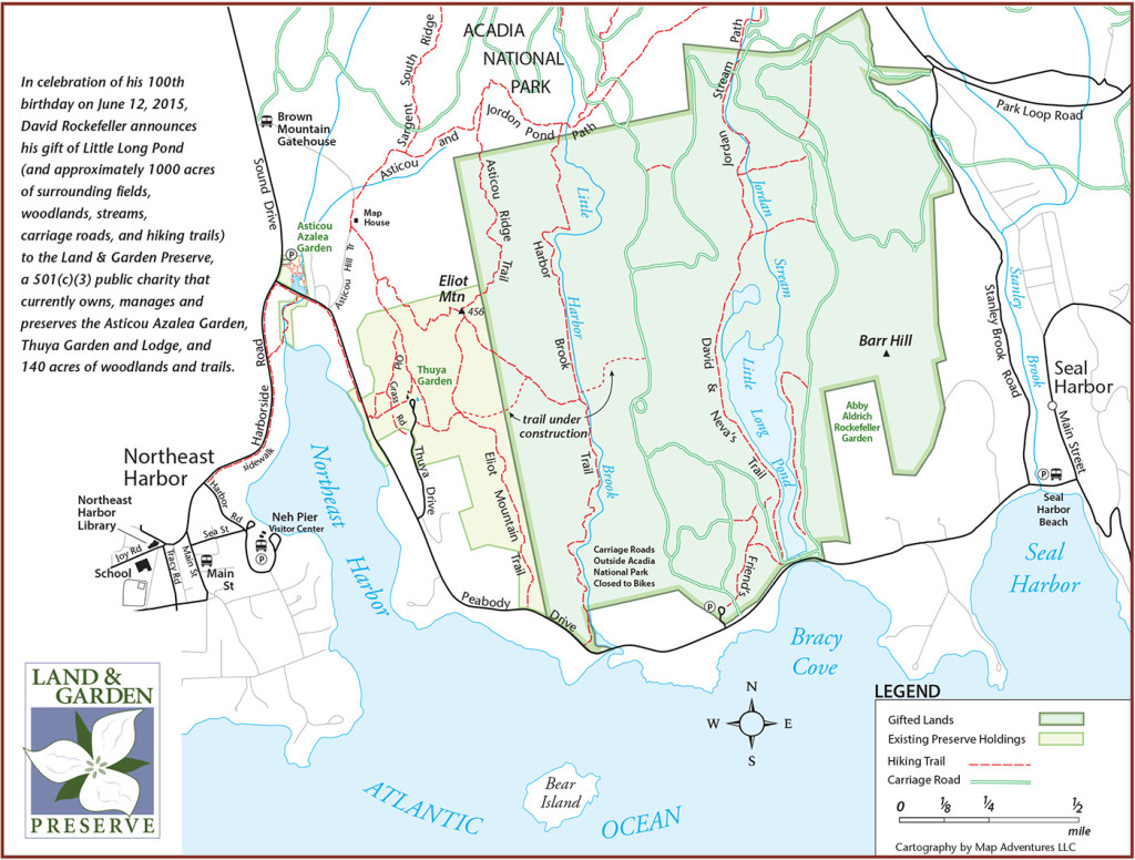Several Acadia hiking trails, including Asticou Ridge Trail, Harbor Brook Trail, and the Jordan Stream Path, extend into David Rockefeller's property. A new trail that cuts across Rockefeller's land in a west to east direction from Eliot Mountain should be ready to open this summer. Map courtesy of the Land and Garden Preserve