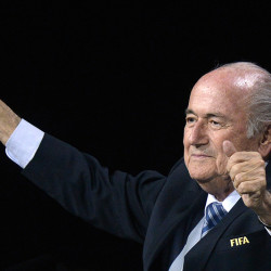 FIFA president Sepp Blatter gestures after his re-election.