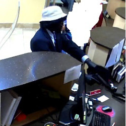 Robbery suspect at the TruChoice Credit Union branch on Park Avenue in Portland. Courtesy photo