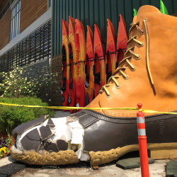 The L.L. Bean boot sculpture outside the Dedham, Mass., store was struck by a tractor-trailer.