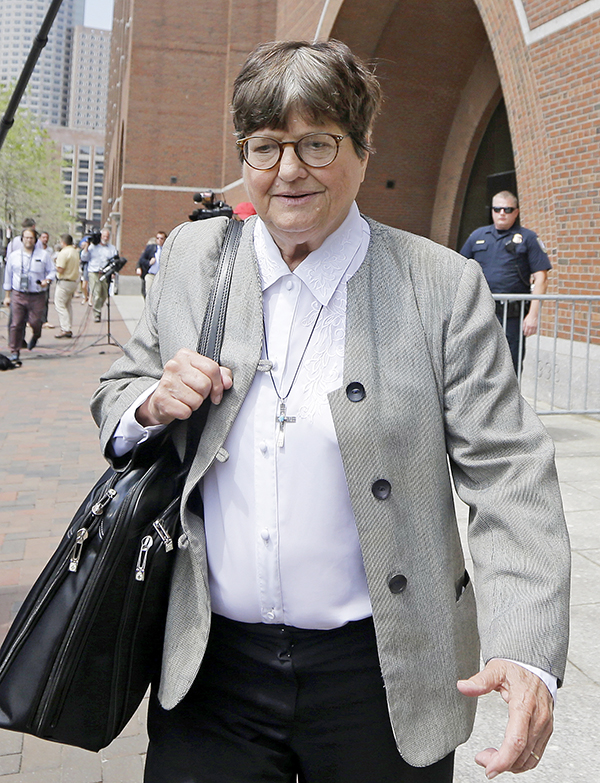 Death penalty opponent Sister Helen Prejean leaves federal court in Boston Monday after testifying during the penalty phase of Dzhokhar Tsarnaev's trial. The Associated Press