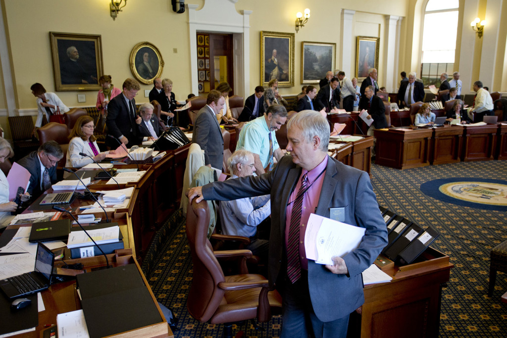The state Senate takes a recess Tuesday after voting 25-10 to override Gov. LePage's veto of the budget.