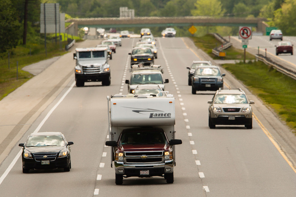 Vehicles head north into Maine on the Maine Turnpike in Saco recently. Turnpike officials say traffic this year is set to surpass the record set in 2007. Carl D. Walsh/Staff Photographer