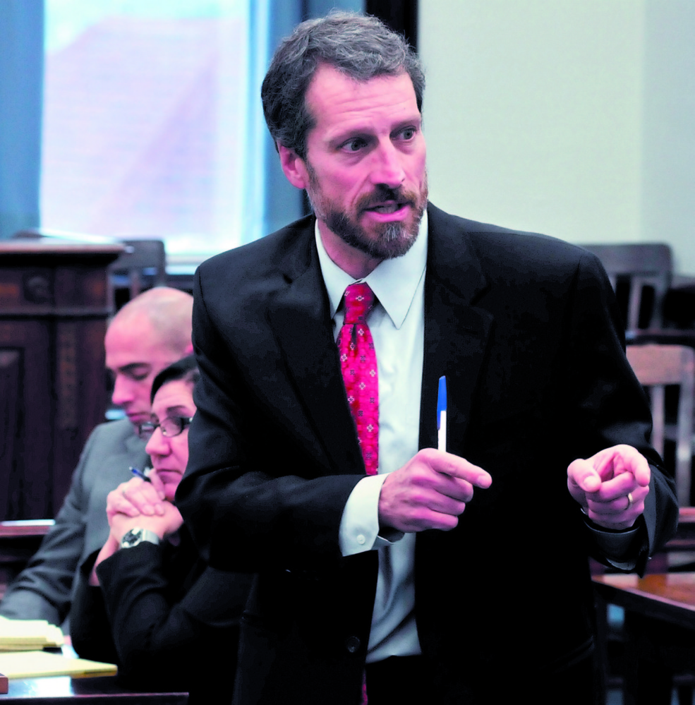 Defense attorney Philip Mohlar makes a point during his closing statements in 2012 in the Robert Nelson murder trial in Somerset County Superior Court in Skowhegan. Mohlar was representing Jason Cote, charged with murder, but Cote has asked that Mohlar be removed from the case, delaying Cote's trial a third time.