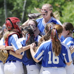 AUGUSTA, ME - JUNE 20: Messalonskee players celebrate the win as Messalonskee beats Scarborough 1-0 in the Class A State Softball Championship. (Photo by Gordon Chibroski/Staff Photographer)