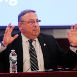 Gov. Paul LePage speaks at Tuesday's town hall forum at the Open Door Bible Baptist Church in Lisbon. He said that if the Legislature won't act on his plan to lower income taxes, he'll personally lead a citizens initiative. Shawn Patrick Ouellette/Staff Photographer