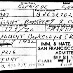 This digital image from the Immigration and Naturalization Service and the National Archives shows an immigration document for Elfriede Huth, later Elfriede Rinkel, when she was admitted to the United States in 1959.