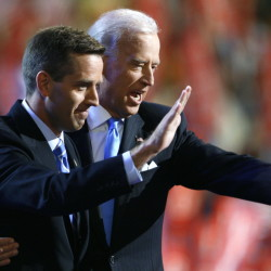 Delaware Attorney General Beau Biden, left, and vice presidential candidate Sen. Joe Biden share the stage at the 2008 Democratic National Convention in Denver, Colo. Beau Biden died of brain cancer Saturday at age 46.