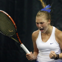 Olivia Leavitt celebrates and with good reason. The Falmouth senior won her third straight singles state championship Monday when she defeated St. Dominic's Bethany Hammond 6-4, 7-6 (1) at The Racket & Fitness Center.