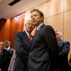 Republican presidential candidate, Sen. Rand Paul, R-Ky. and former Florida Sen. Bob Graham take questions from the audience during a news conference on Capitol Hill in Washington, Tuesday to call for the 28 classified pages of the 9-11 report to be declassified.