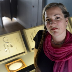 Maria Wolff is curator of pickle forks and a few stray items of jewelry being shown at The Bearded Lady's Jewel Box in Portland.