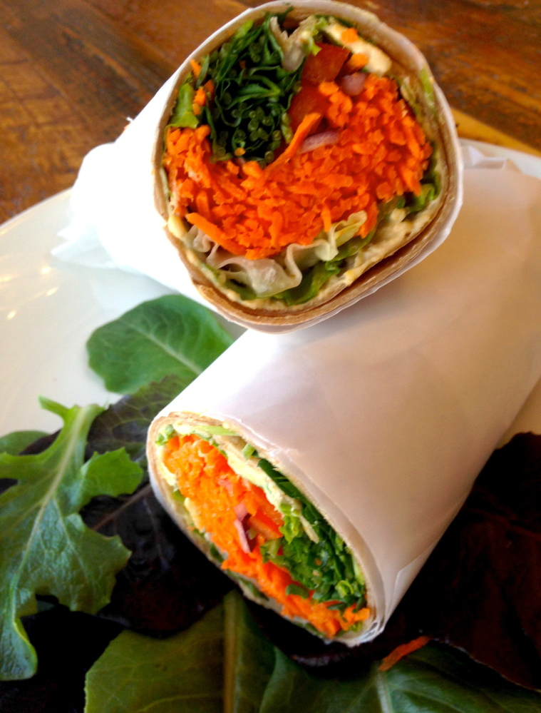 The Portland Food Co-op will sell an all-vegan lunch at the festival including a hummus roll-up with pea shoots, carrots, red bell peppers and lettuce.