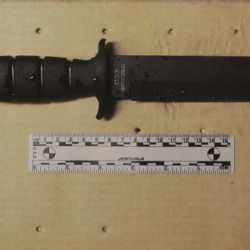 The Associated Press The knife brandished by a man under surveillance by a joint terrorism task force who was shot and killed outside a pharmacy Tuesday is displayed during a news conference at the Boston Police Department Headquarters Tuesday, in Boston.)