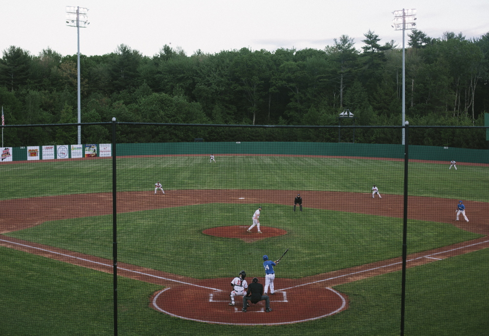 The setting was as it should be Wednesday night. A former Triple-A ballpark called The Ballpark brought back to life, and a new team in a new league setting up shop. Jake Sprengle of the Old Orchard Beach Surge took his cuts during an opening-night victory.