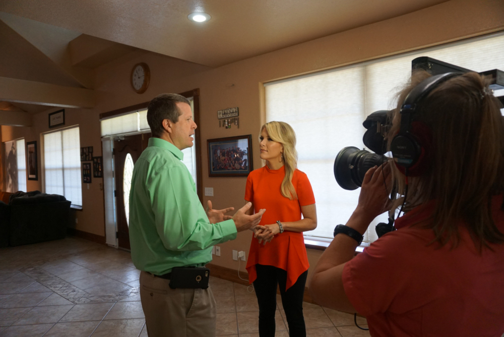 """Jim Bob Duggar, left, of the TLC series """"19 Kids and Counting,"""" speaks with Fox News Channel's Megyn Kelly on Wednesday."""