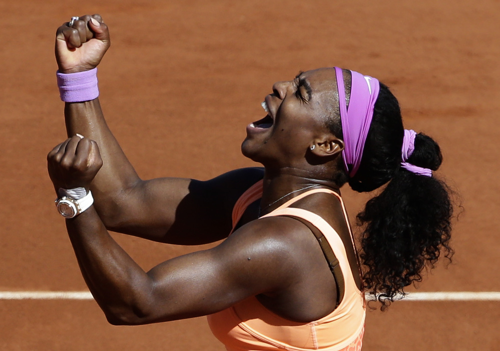 Serena Williams celebrates after defeating Lucie Safarova for the French Open women's singles title Saturday in Paris. Williams won 6-3, 6-7 (2), 6-2.