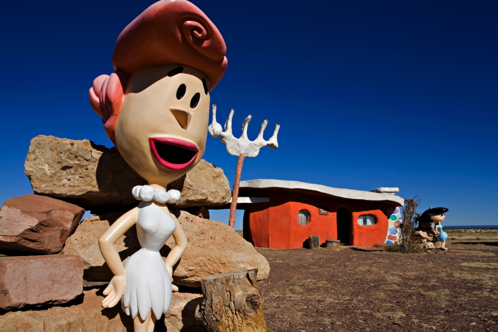 A Wilma Flintstone figure is seen at the Flintstones Bedrock City theme park in this 2008 photo provided by Richard Maack. The owner of the park designed around the Hanna-Barbera cartoon said she is selling the property for $2 million.