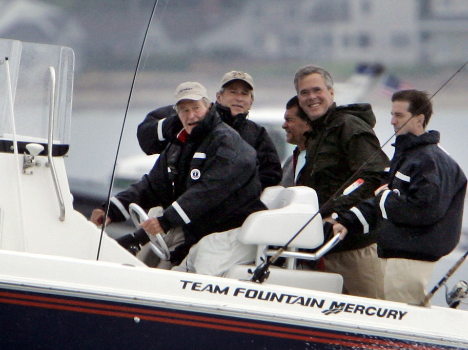 Former President George H.W. Bush takes his sons George and Jeb on a fishing trip off Kennebunkport. While Jeb Bush usually visits Maine just once a year, he's building a $1.4 million cottage at Walker's Point.
