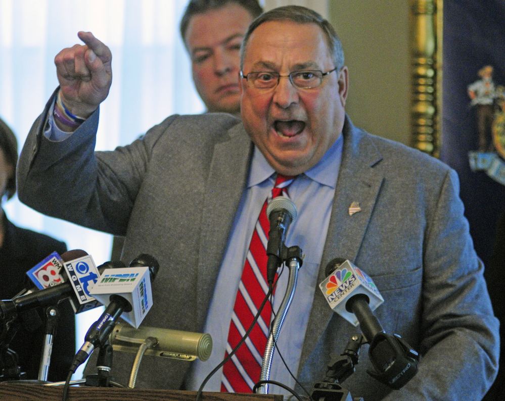 "Gov. LePage speaks at a May 29 news conference where he called Democratic lawmakers ""disgusting"" and ""disgraceful"" for delaying a committee vote on Bruce Williamson's nomination to the Public Utilities Commission."