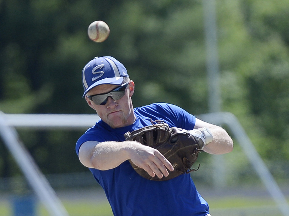 Sacopee Valley's Michael Pingree makes a throw during practice Thursday. Shawn Patrick Ouellette/Staff Photographer