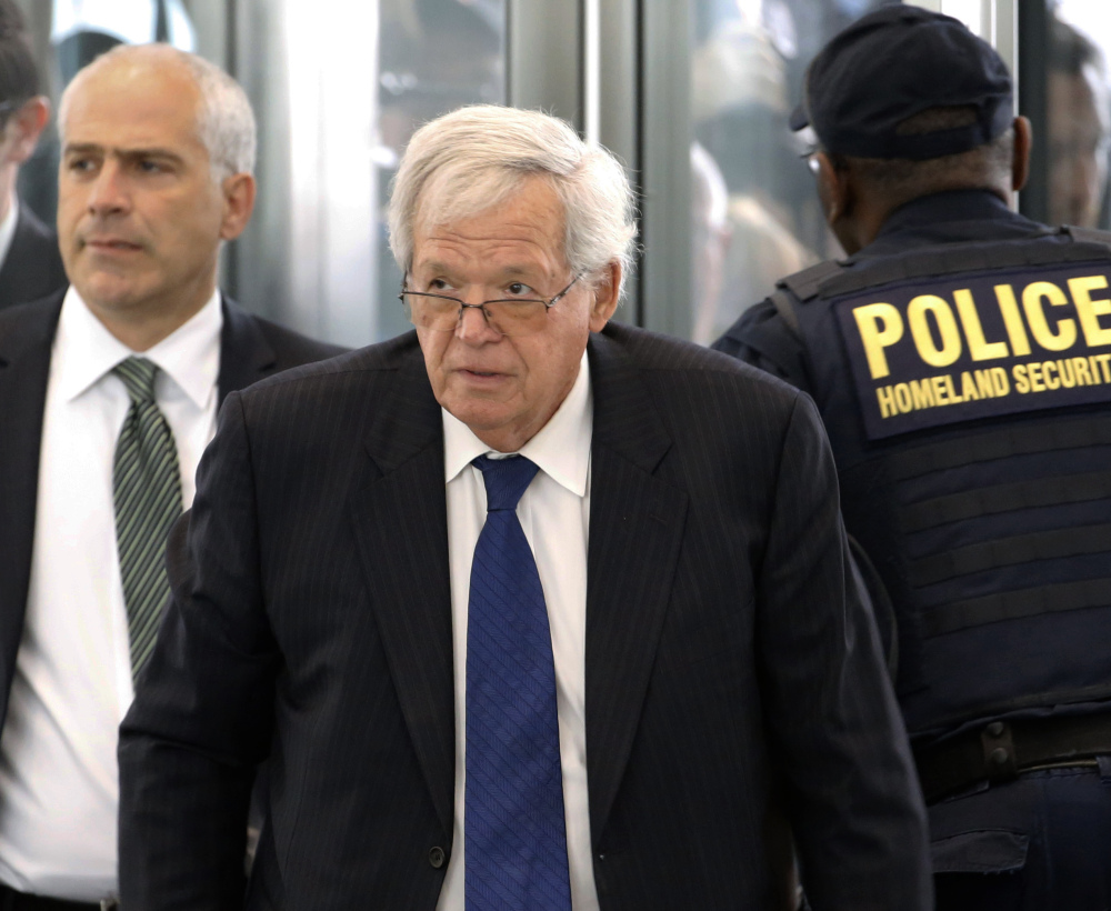 Former House Speaker Dennis Hastert arrives at Chicago's federal courthouse Tuesday for his arraignment on federal charges.