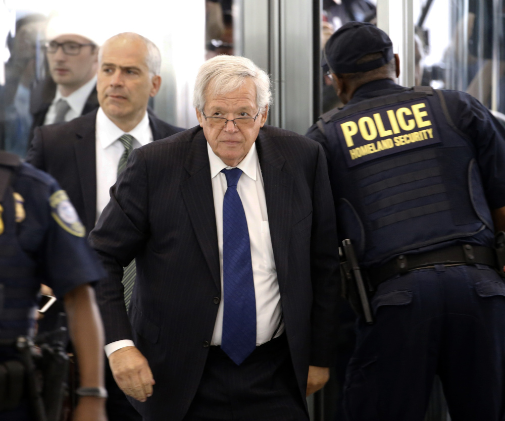 Former House Speaker Dennis Hastert arrives at the federal courthouse Tuesday, June 9, 2015, in Chicago for his arraignment on federal charges that he broke federal banking laws and lied about the money when questioned by the FBI. The indictment two weeks ago, alleged Hastert agreed to pay $3.5 million to someone from his days as a high school teacher not to reveal a secret about past misconduct. (AP Photo/Charles Rex Arbogast)