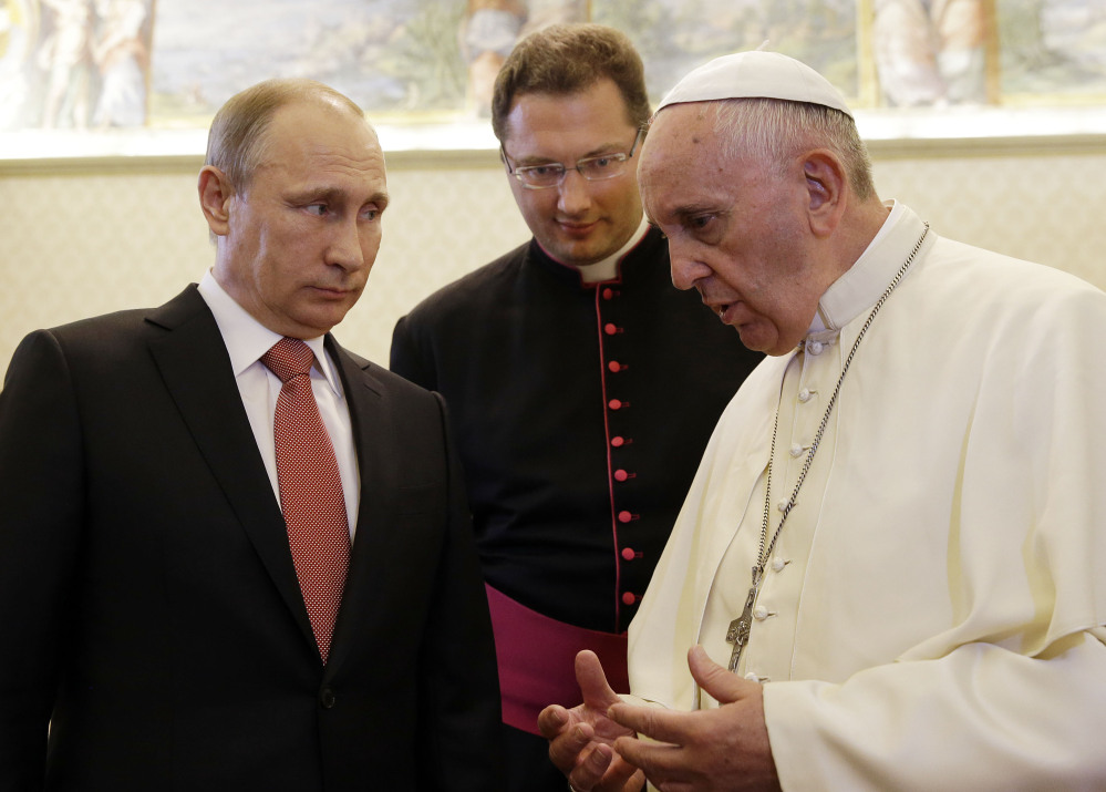 Pope Francis meets with Russian President Vladimir Putin Wednesday at the Vatican.