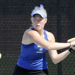 Olivia Leavitt of Falmouth won at No. 1 singles to help the Yachtsmen defeat Scarborough 4-1 and return to the Class A state final for the second straight year after six straight state titles in Class B.