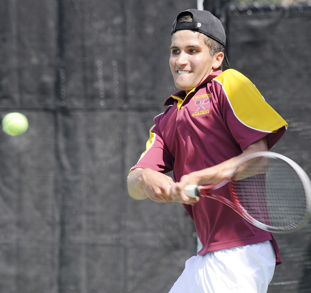 Victor Menezes, the No. 1 player for Thornton Academy, knew the overall title was decided by the time he got on the court, but gave his all to win his final high school match.