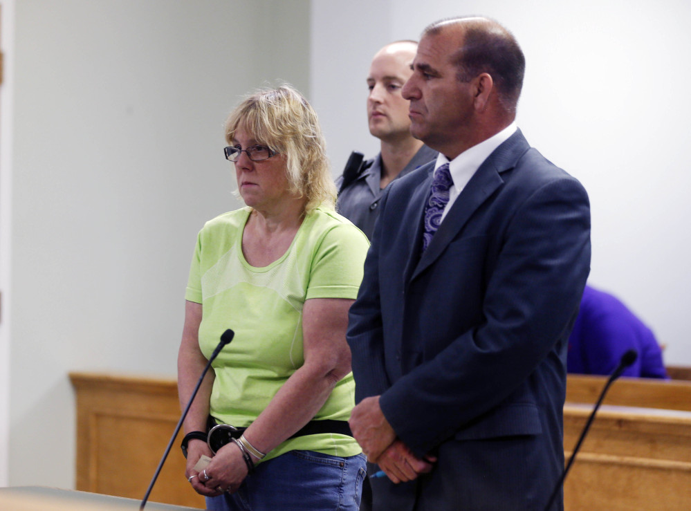 Joyce Mitchell is arraigned in City Court in Plattsburgh, N.Y., on Friday night. Mitchell is accused of helping two convicted killers escape from the Clinton Correctional Facility.