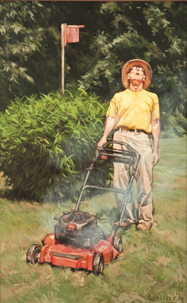 "Several of Gordon Carlisle's works in ""Of Two Minds"" are self-portraits of him mowing his lawn,"