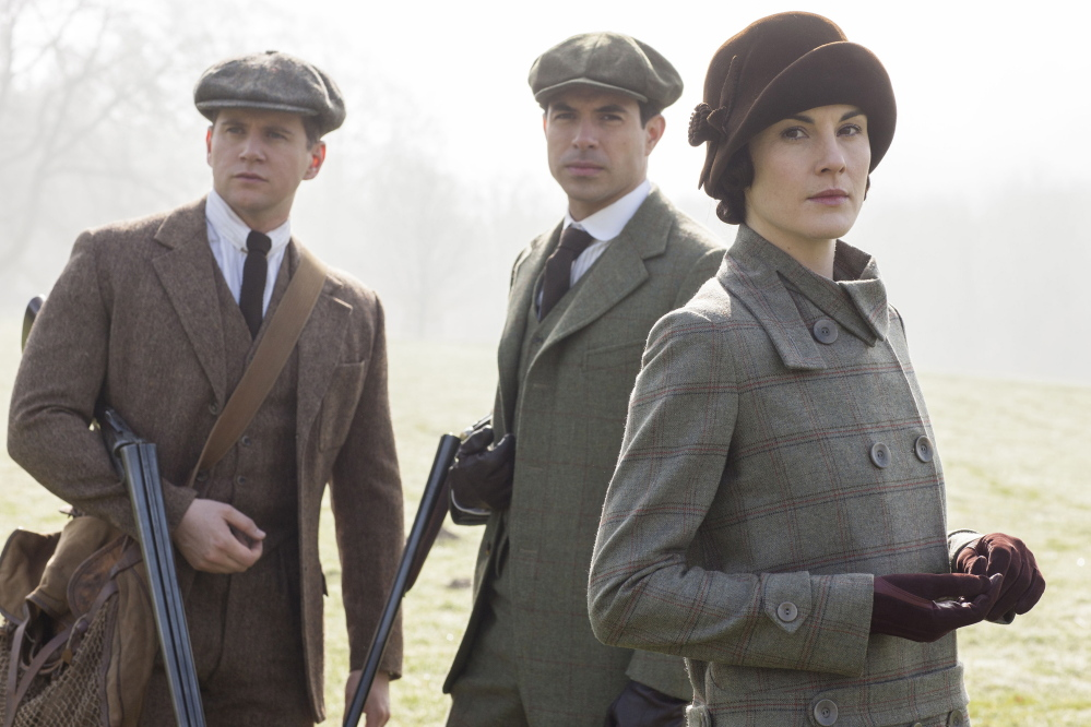 """Allen Leech, left, as Tom Branson, Tom Cullen as Lord Gillingham and Michelle Dockery as Lady Mary in an episode from the fifth season of """"Downton Abbey."""""""