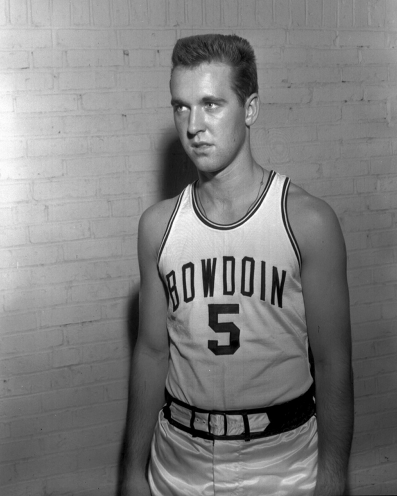 "William Cohen on Bowdoin's basketball team. He saw himself solidly in the ""jock"" category until he was forced to write a sonnet and discovered a love for writing."