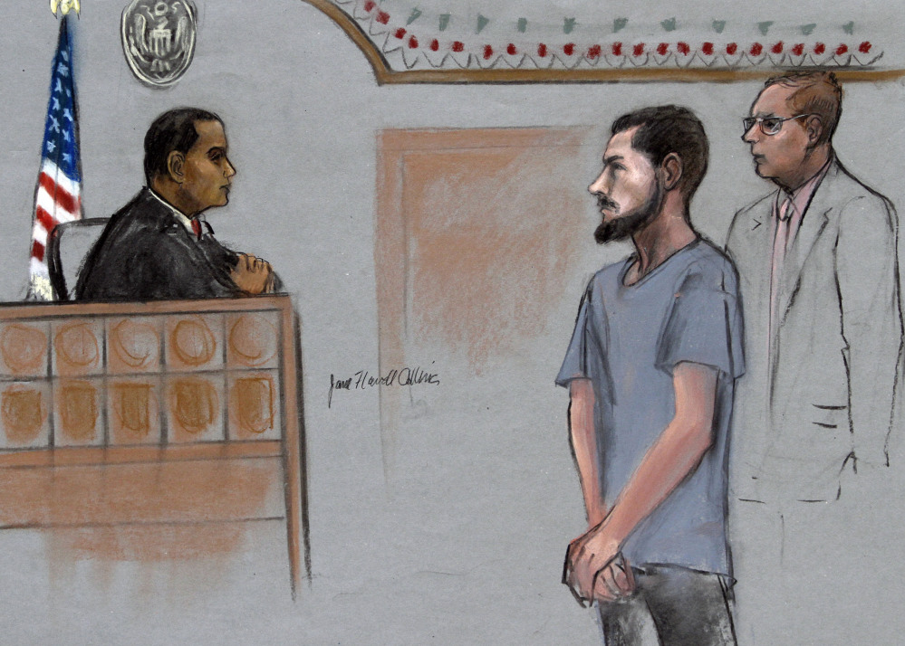 In this courtroom sketch, Nicholas Rovinski, second from right, of Warwick, R.I., is depicted standing with his attorney William Fick, right, as Magistrate Judge Donald Cabell, left, presides during a hearing Friday in federal court in Boston. Rovinski  is accused of conspiring with Usaama Rahim of Boston, who was killed the previous week by terror investigators who had him under 24-hour surveillance.
